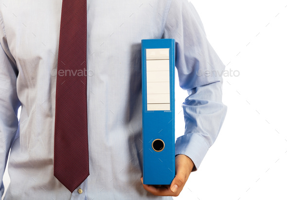 Man holding a binder folder with blank label on white background, clipping path - Stock Photo - Images