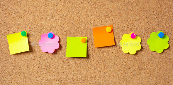 Sticky notes with pushpins, colorful in various shapes and blank space, isolated on cork background. - Stock Photo - Images