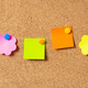 Sticky notes with pushpins, colorful in various shapes and blank space, isolated on cork background. - PhotoDune Item for Sale