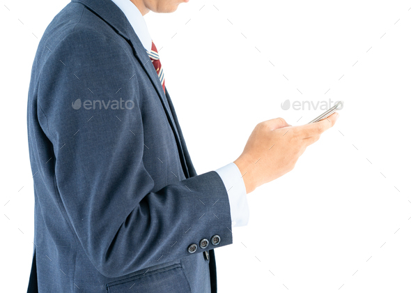 Businessman in suit holding smartphone-3 - Stock Photo - Images