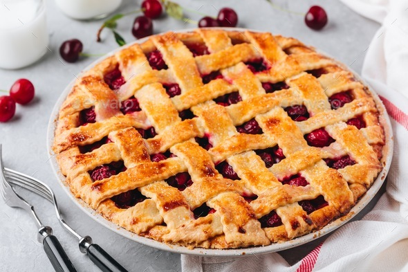 Homemade Cherry Pie with a Flaky Crust - Stock Photo - Images
