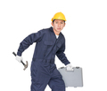 Young handyman standing with his tool box-8