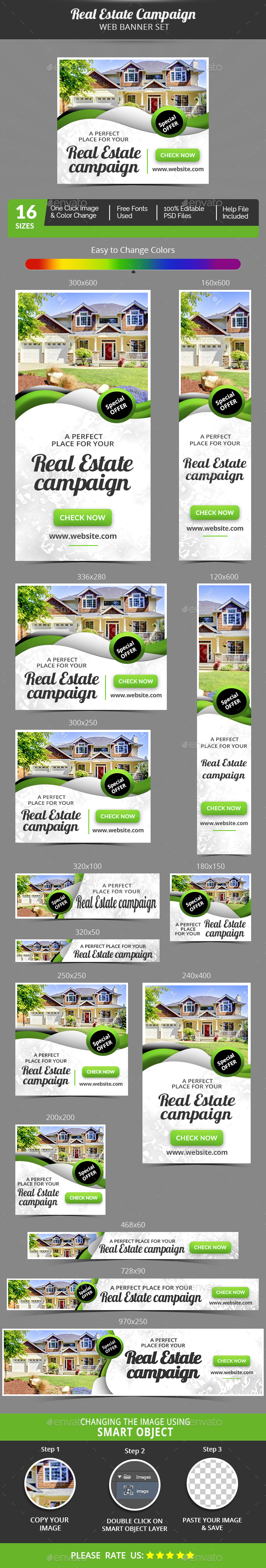 Real Estate Campaign Banner Set - Banners & Ads Web Elements