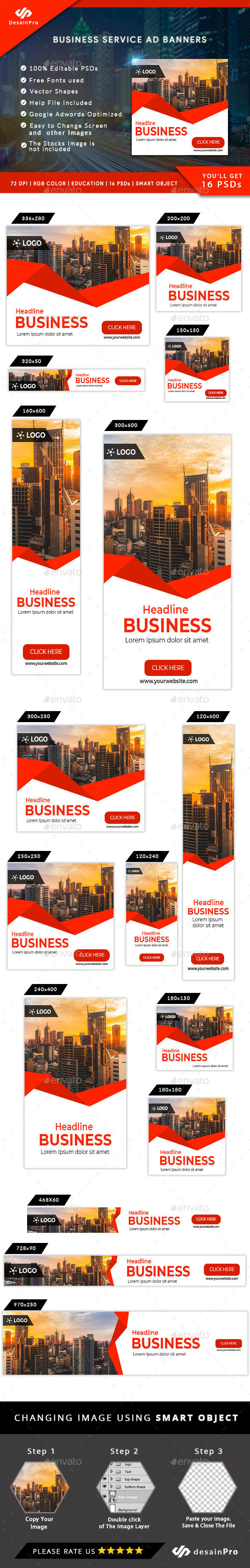 Business Service Ad Banners - AR - Banners & Ads Web Elements