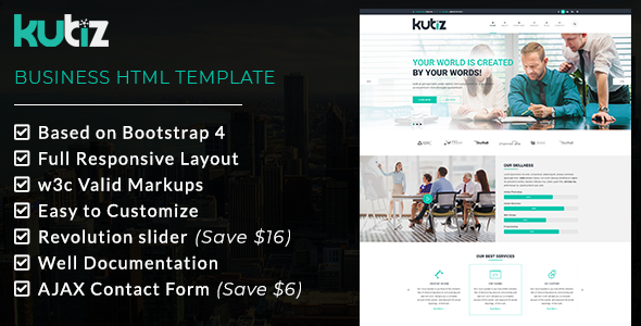 Image of KUBIZ - Business HTML Template