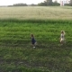 Children Run on the Field with Balls Drone Flies Next To Them - VideoHive Item for Sale