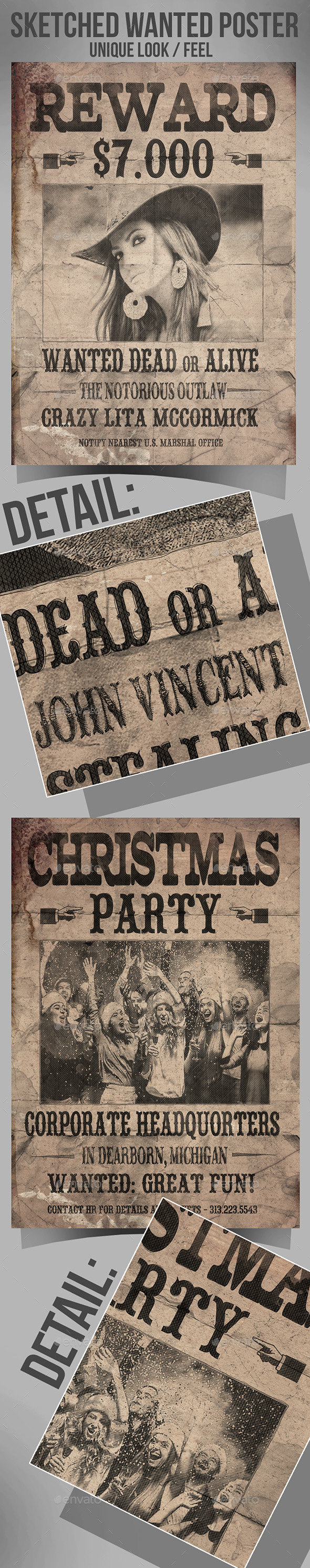 Hand Sketched Old Western Poster - Flyers Print Templates