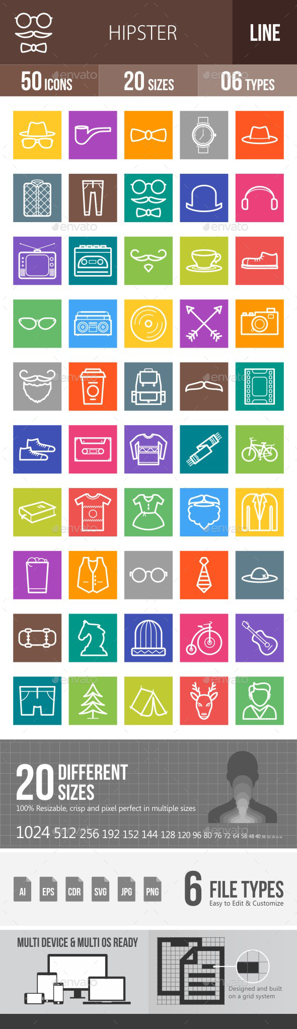 Hipster Line Multicolor Icons - Icons