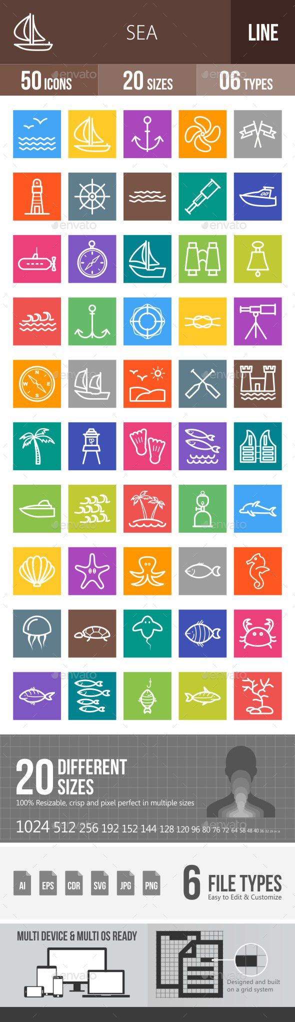 Sea Line Multicolor Icons - Icons