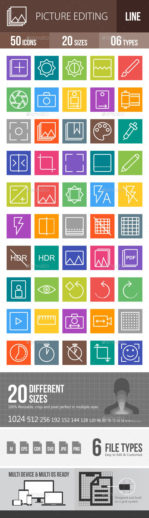 Picture Editing Line Multicolor Icons - Icons