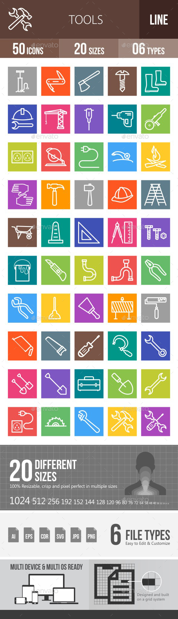Tools Line Multicolor Icons - Icons