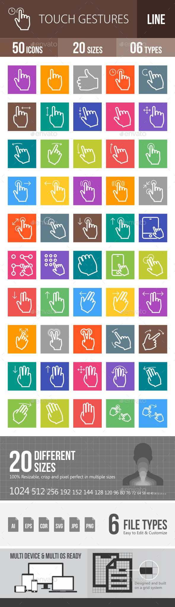 Touch Gestures Line Multicolor Icons - Icons