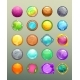 Big Set of Cartoon Round Colorful Buttons