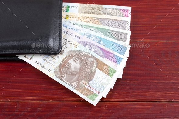 Polish money in the black wallet  - Stock Photo - Images
