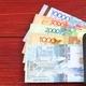 Kazakhstani tenge in the black wallet  - PhotoDune Item for Sale