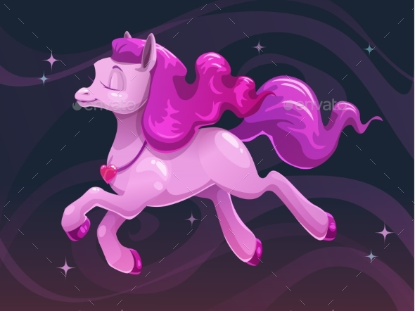 Cartoon Flying Pink Pony - Animals Characters