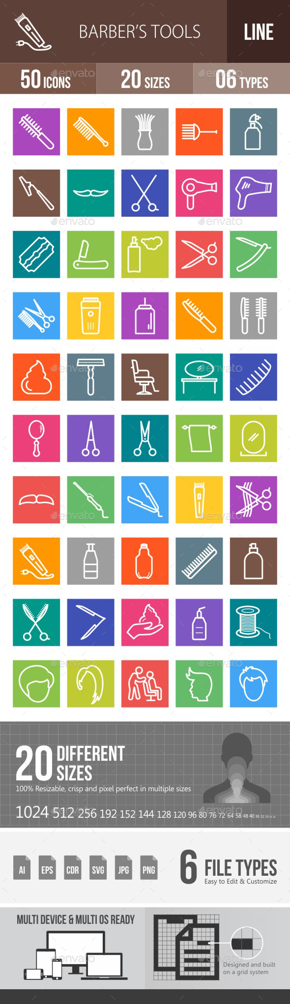 Barber's Tools Line Multicolor Icons - Icons