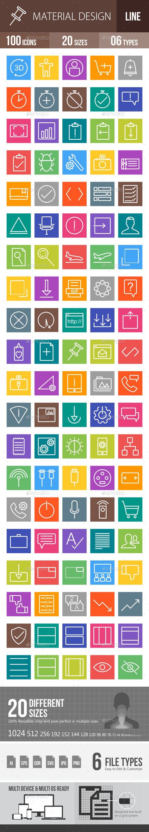 Material Design Line Multicolor Icons - Icons