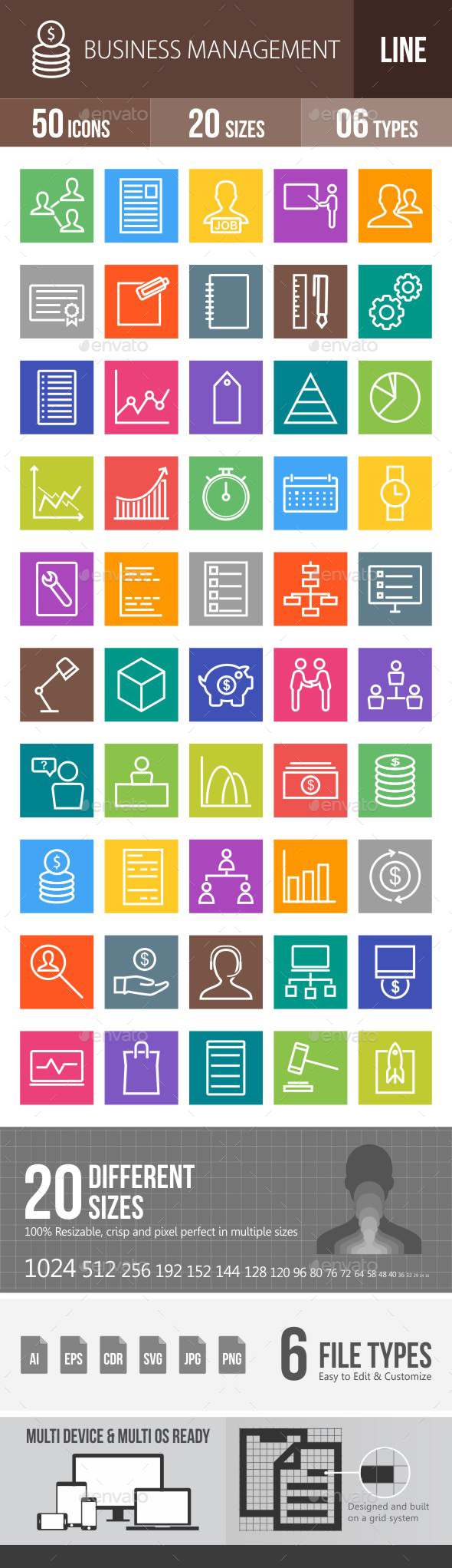 Business Management Line Multicolor Icons - Icons