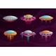 Cartoon Colorful UFO Assets Set