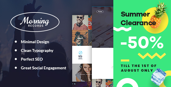 Morning Records - Sound Recording Studio WordPress Theme - Music and Bands Entertainment