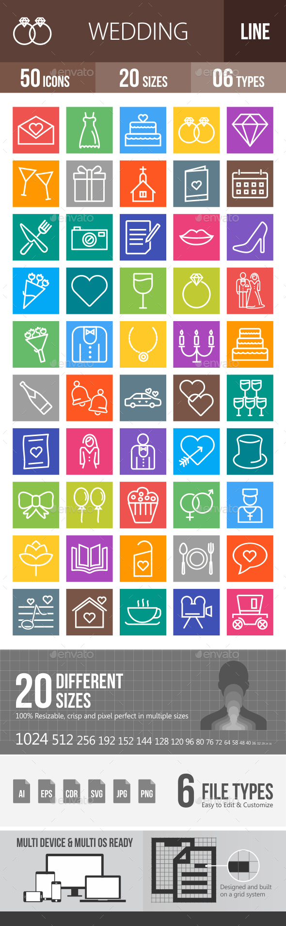 50 Wedding Line Multicolor B/G Icons - Icons