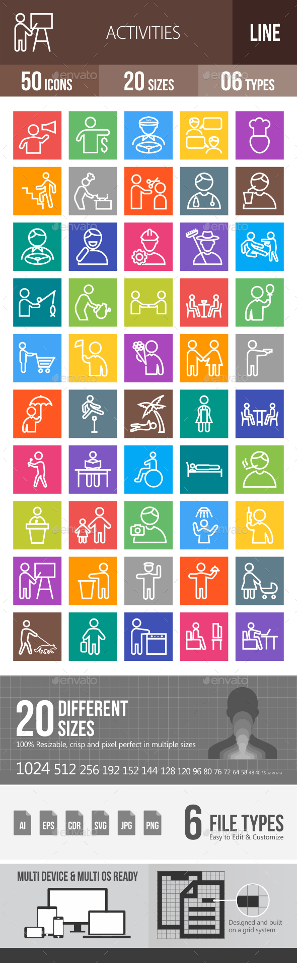 50 Activities Line Multicolor B/G Icons - Icons