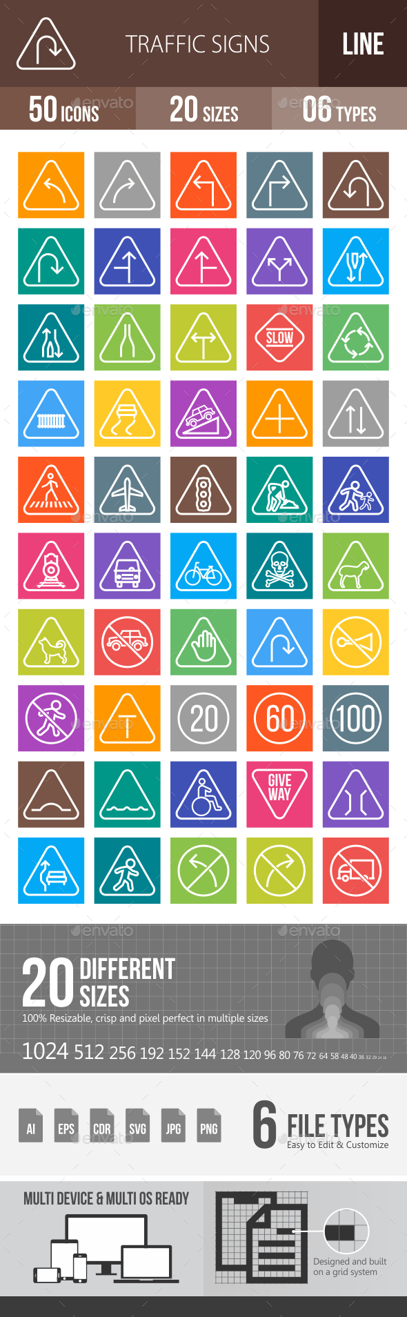 50 Traffic Signs Line Multicolor B/G Icons - Icons