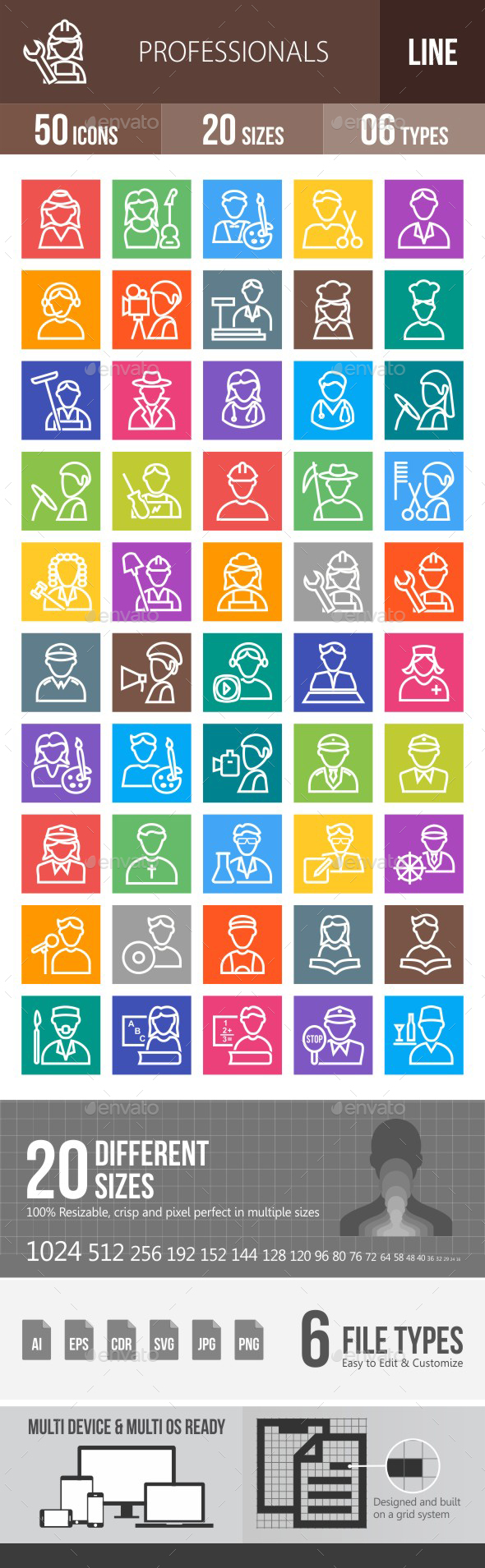 50 Professionals Line Multicolor B/G Icons - Icons