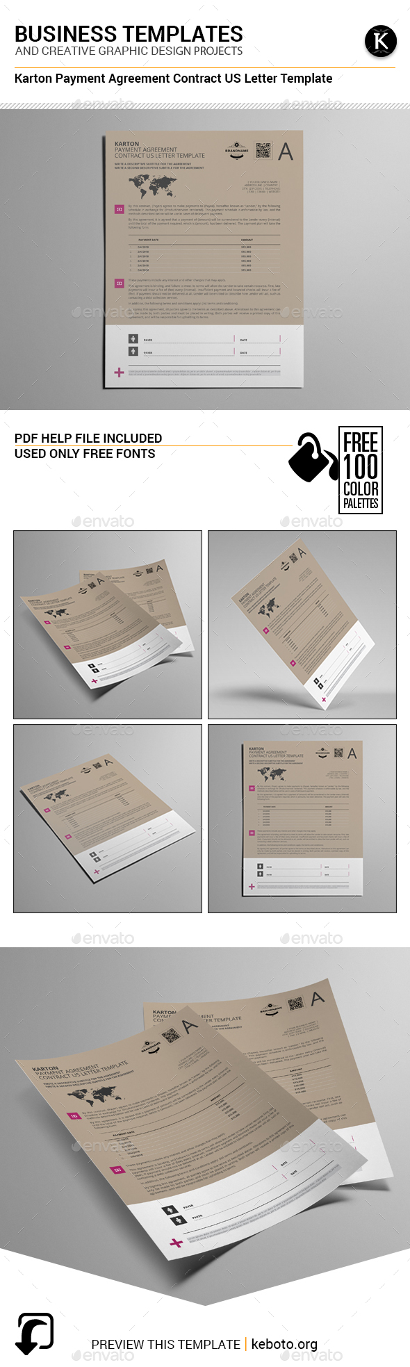 Karton Payment Agreement Contract US Letter Template - Miscellaneous Print Templates