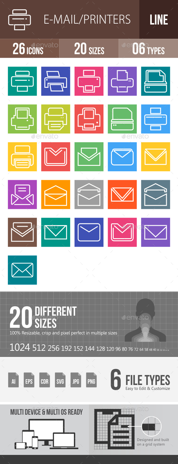 26 Email & Printer Line Multicolor B/G Icons - Icons