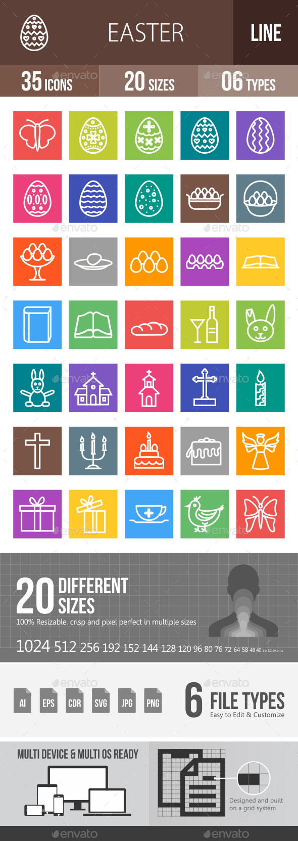 35 Easter Line Multicolor B/G Icons - Icons