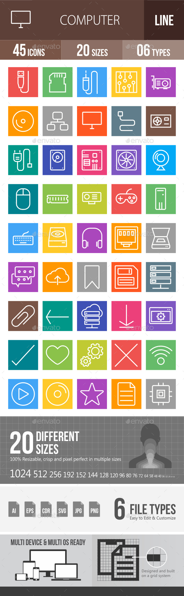 45 Computer & Hardware Line Multicolor B/G Icons - Icons