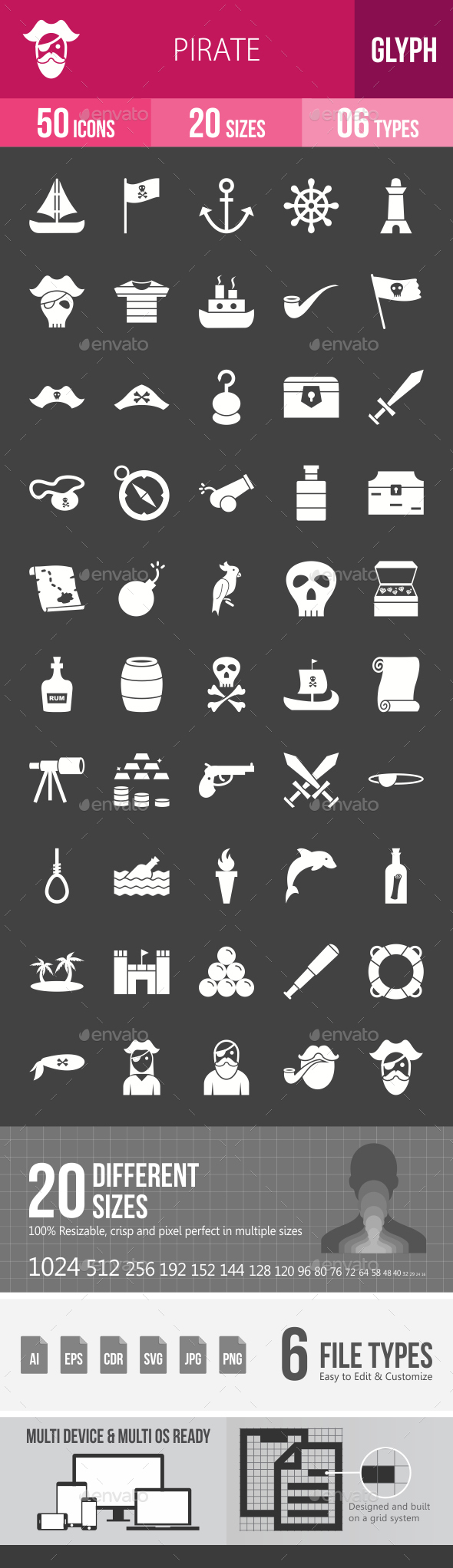 Pirate Glyph Inverted Icons - Icons