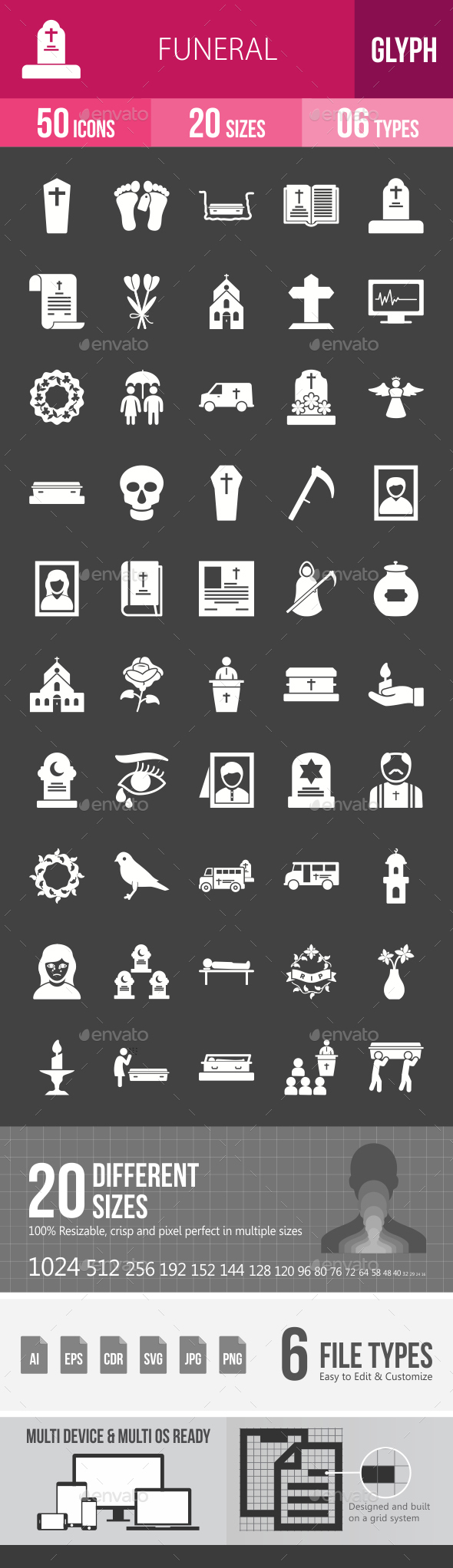 Funeral Glyph Inverted Icons - Icons