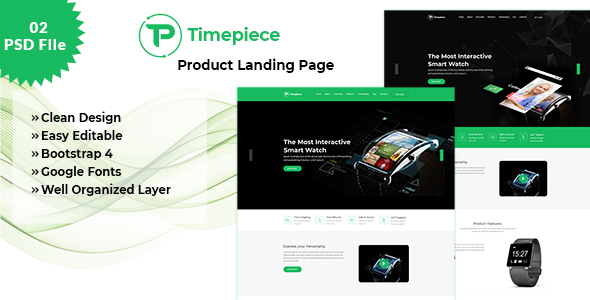 Timepiece - Product Landing Page PSD Template - Marketing Corporate