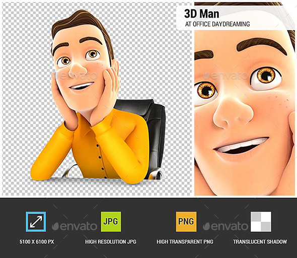 3D Man at Office Daydreaming - Characters 3D Renders