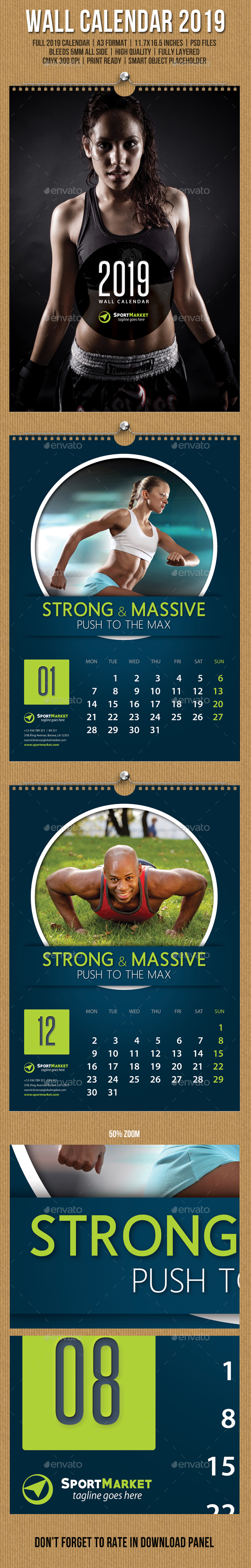 Wall Calendar A3 2019 v20 - Calendars Stationery