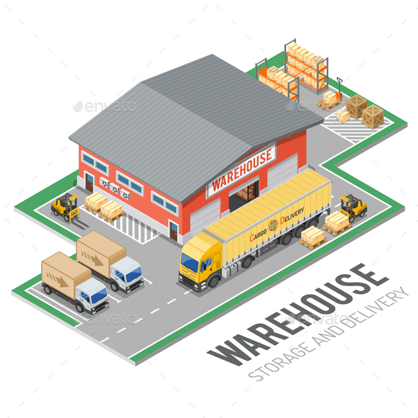 Warehouse Storage and Delivery Isometric - Services Commercial / Shopping