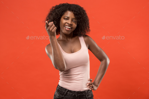 The happy business woman point you and want you, half length closeup portrait on red background. - Stock Photo - Images