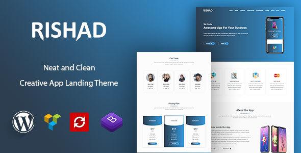 Rishad - App Landing WordPress Theme - Software Technology