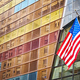 American flag in front of a modern building, New York. - PhotoDune Item for Sale