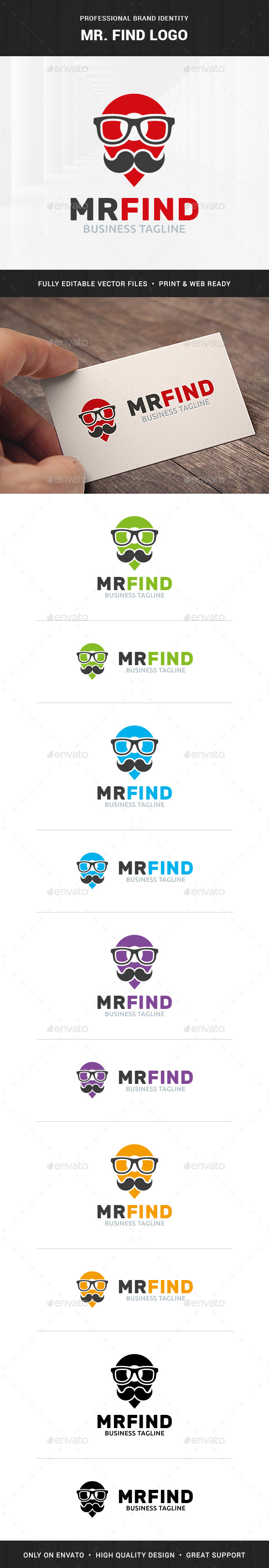Mister Find Logo Template - Humans Logo Templates