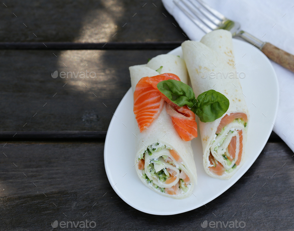 Tortilla with a Red Fish - Stock Photo - Images