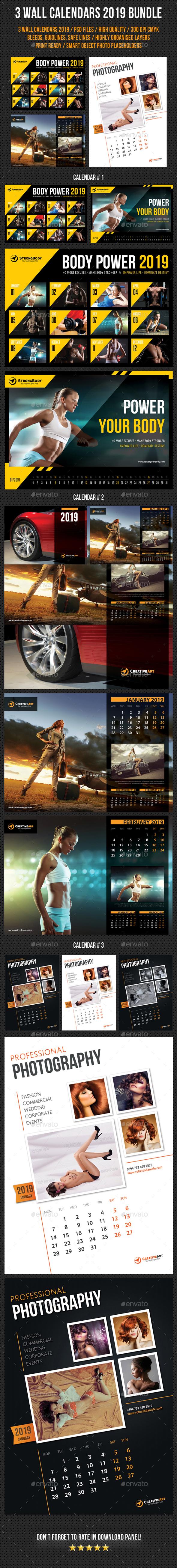 Wall Calendars 2019 Bundle V03 - Calendars Stationery