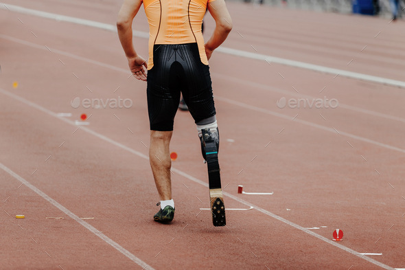 male athlete disabled amputee - Stock Photo - Images