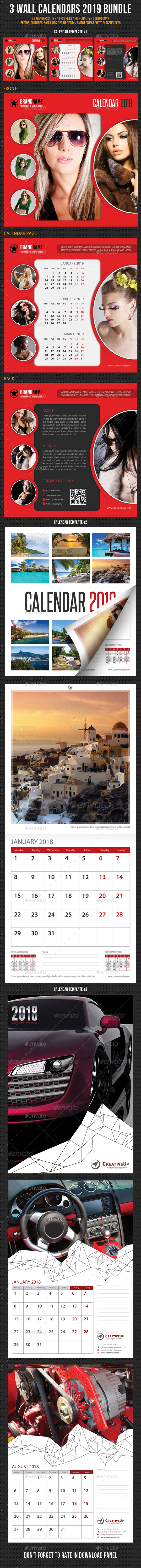 Wall Calendars 2019 Bundle V15 - Calendars Stationery