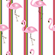 striped seamless pattern with flamingos illustration