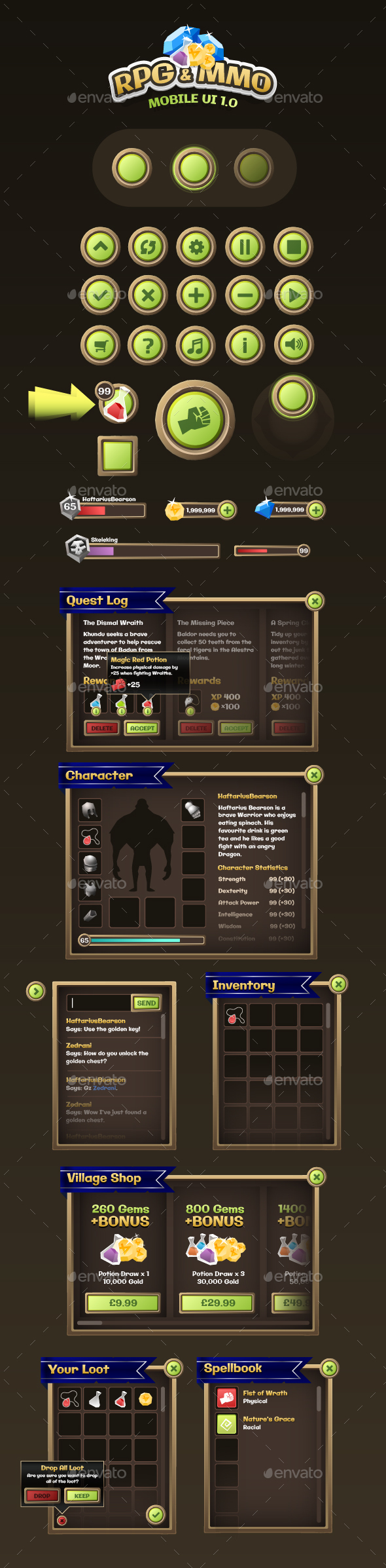 Mobile Game UI Assets 1 - User Interfaces Game Assets