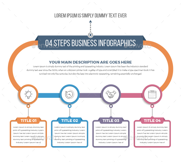 04 Steps Business Circle Infographics - Infographics